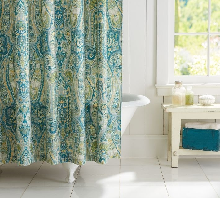 Pottery Barn Rosalie Paisley Shower Curtain Blue Brand New Ebay