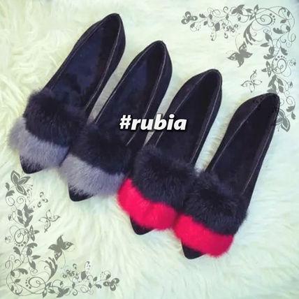 ふわふわファー☆バイカラーフラットシューズ(2カラー) rubia select バイマ BUYMA