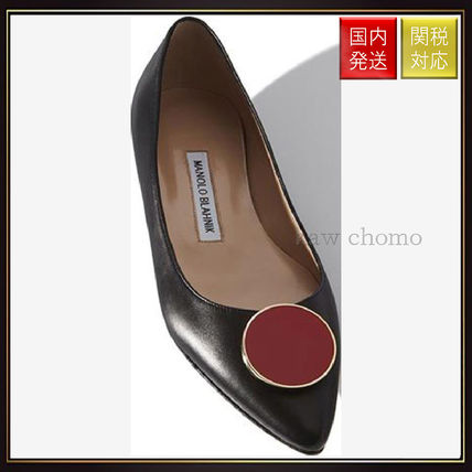 【マノロブラニク】Black Nappa Leather Almond Toe Flat Shoes Manolo Blahnik(マノロブラニク) バイマ BUYMA