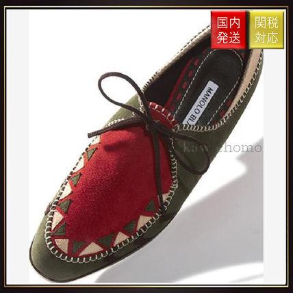 【マノロブラニク】Green Suede Chevron Pattern Flat Shoes Manolo Blahnik(マノロブラニク) バイマ BUYMA