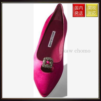 【マノロブラニク】Pink Satin Embellished Flats Pink Manolo Blahnik(マノロブラニク) バイマ BUYMA