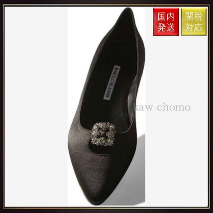 【マノロブラニク】Black Satin Embellished Flats Black Manolo Blahnik(マノロブラニク) バイマ BUYMA