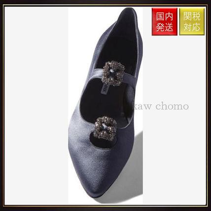 【マノロブラニク】Grey Satin Embellished Flats Grey Manolo Blahnik(マノロブラニク) バイマ BUYMA