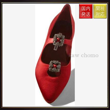 【マノロブラニク】Red Satin Embellished Flats Red Manolo Blahnik(マノロブラニク) バイマ BUYMA